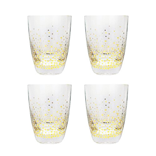Gold Juice Glass - Trinkware Luster Gold Set of 4 Double Old Fashioned Rocks Glasses For Water Scotch Whiskey Juice