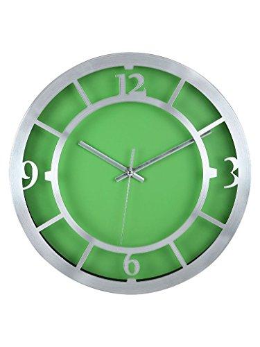 Cosmosgalaxy Techno Steel Wall Clock (30 cm x 4 cm x 30 cm, Silver and Green)