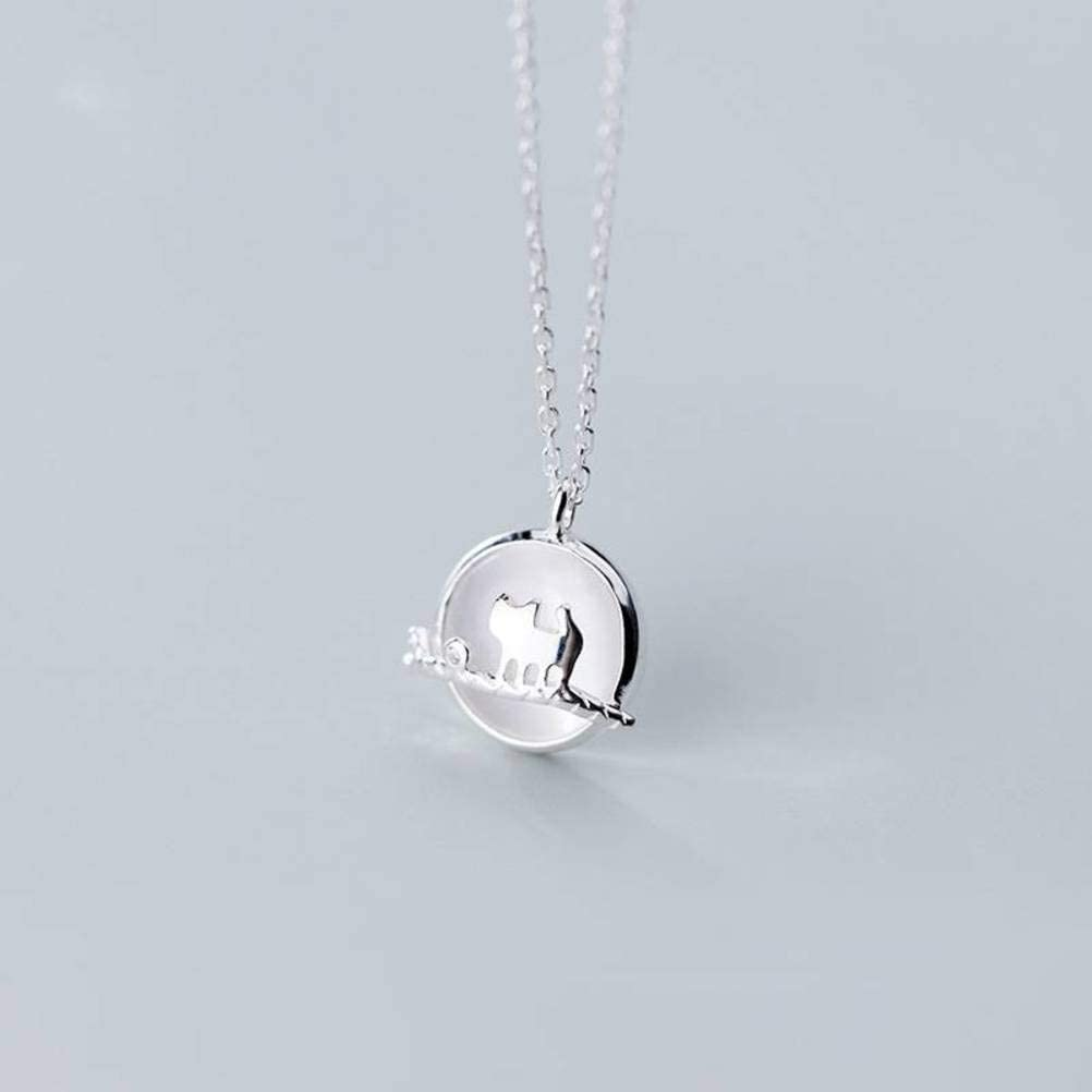 WOZUIMEI S925 Collar de Plata Estilo Japonés Y Coreano para Mujer, Pequeño Y Encantador Gatito Encantador, Ojo de Gato Sintético, Cerradura de Piedra con Cadena de OsículosCordón de plata S925