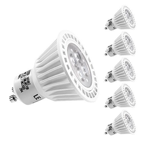 Mr16 Gu10 Led Bulbs Dimmable 7w 50w Equivalent 3000k: LE 5 Pack 6.5W Dimmable MR16 GU10 LED Bulbs, 50W Halogen