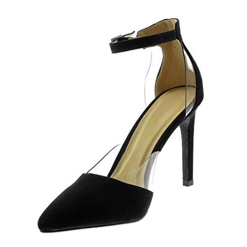 Mujer Zapatillas Escarpín Negro Cm Angkorly Sandalias Aguja Moda Transparente De Tanga 10 Correa Tobillo Tacón Decollete Stiletto 5 Alto tvwwqdU