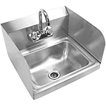 GRIDMANN Commercial NSF Stainless Steel Sink With Faucet U0026 Sidesplashes    Wall Mount Hand Washing Basinâ