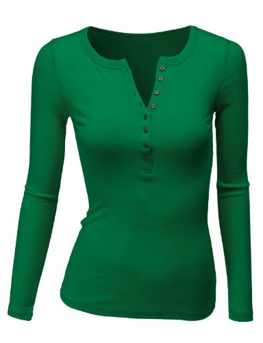 Doublju Womens Long Sleeve Thermal Cotton Henley T-Shirt GREEN 2XL
