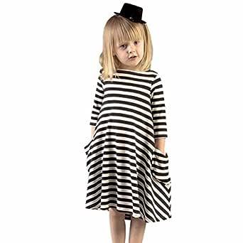 RETUROM Vestido de niña, Moda mamá y Hija Negro Vestido de