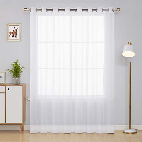 Deconovo White Wide Sheer Curtain Grommet Voile Drape Curtains for Living Room 1 Panel 100W x 84L Inch (Sheer Curtain 100 Panels Wide)
