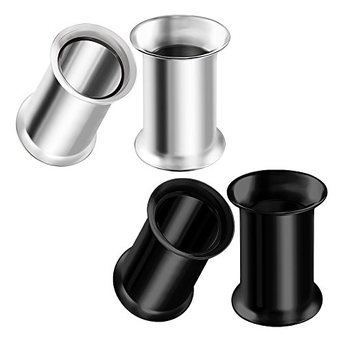 Flare Tunnel Ear Plug Ring - BIG GAUGES 2 Pairs Stainless Steel 2g Gauge 6mm Black Anodized Double Flared Piercing Jewelry Stretcher Ear Ring Lobe Tunnel Plug BG0632