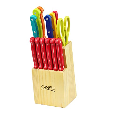 Ginsu Huetopia Collection 14-Piece Serrated Rainbow Knife Set – Cutlery Set with Stainless Steel Kitchen Knives in a Natural Block, 03826DS