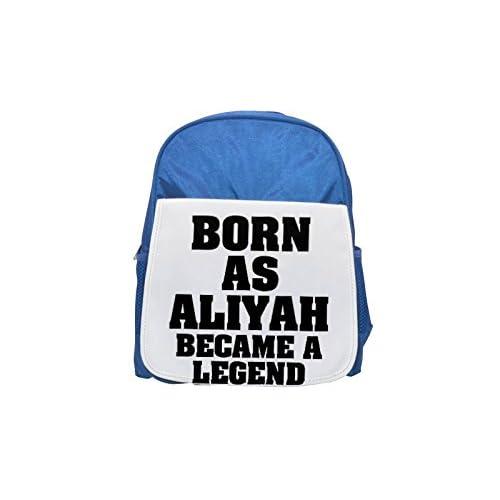 Nacido como Aliyah se convirtió en una mochila azul de leyenda impresa para niños, mochilas lindas, mochilas pequeñas, lindas mochilas negras, mochilas negras, mochilas de moda, grandes mochilas de moda,
