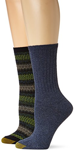 Gold Toe Women's 2-Pair Fairisle Rib Boot, Navy Fairisle/Indigo Rib, - And Indigo Gold
