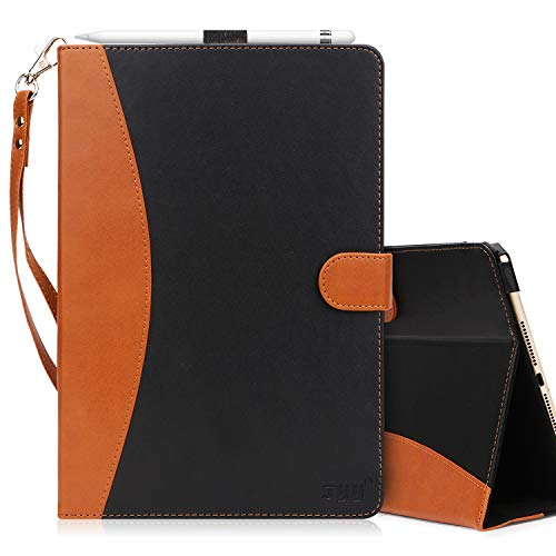 FYY [Leather Case] with [Apple Pencil Holder] for Apple iPad Pro 12.9 Both 2017/2015, Flip Folio Stand Case Protective Cover with [Auto Sleep Wake Function], Multiple Stand Angles, Card Slots Black