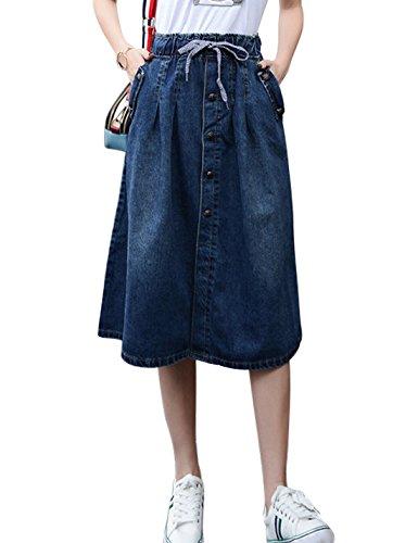 Tanming Women's Elastic Waist A-Line Pleated Midi Denim Skirt (X-Small, Blue-TM2) ()
