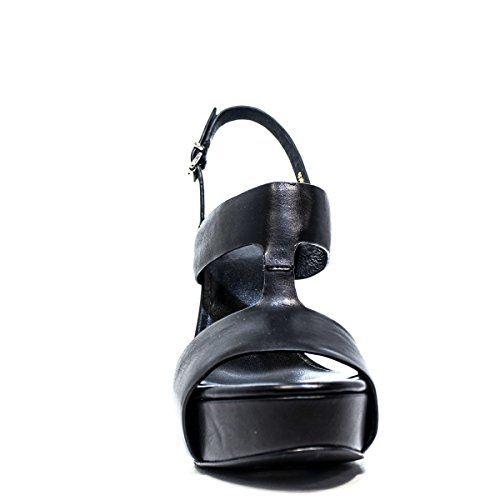 LUCIANO BARACHINI 6045 Les Sandales de femme, TALON HAUT, NEW SUMMER COLLECTION PRINTEMPS 2016 CUIR NOIR