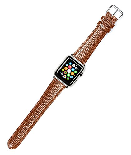 - Debeer Replacement Watch Band - Lizard Grain - [Short Length] - Havana - Fits 38mm Apple Watch [Silver Adapters]