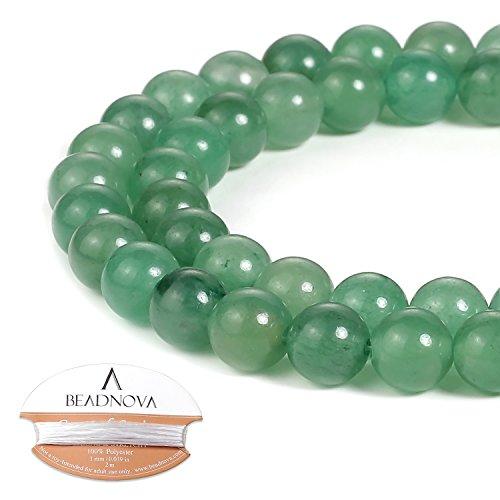 BEADNOVA 8mm Green Aventurine Gemstone Round Loose Beads for Jewelry Making (45-48pcs)