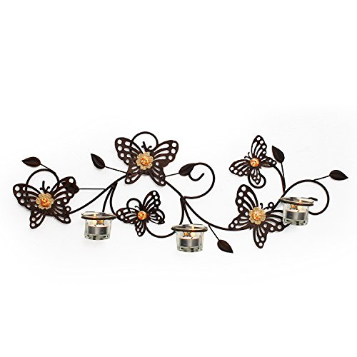 Adeco HD0032 Decorative Rustic Bronze-Color Iron Wall Hanging Tea Light Candle Holder, Butterflies, Black (Iron Tealight Holder)