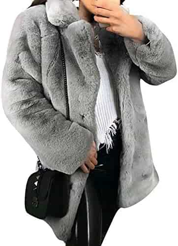 5328e42ed66a BerryGo Women's Shaggy Faux Fur Coat Long Sleeve Thick Jacket Outwear with  Pocket