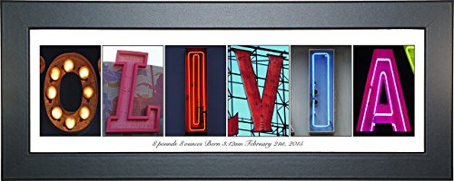 Personalized Childrens Gifts - Eclectic Shelf Top or Wall Hanging Name Sign for Girls or Boys Room with Bright Broadway Light Images - Exclusively By Creative (Black Frame, 8x20 Inch - Eclectic Frames