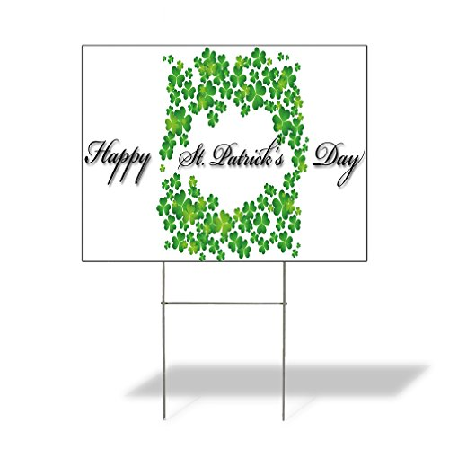 (Plastic Weatherproof Yard Sign Happy St. Patrick's Day #1 Celebration St Patrick's Day Yellow St Patricks Day for Sale Sign Multiple Quantities Available 18inx12in One Side Print One)