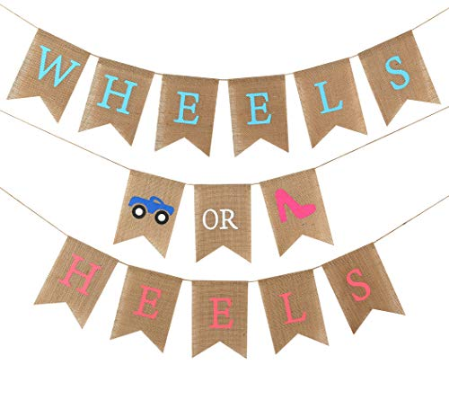 Baby Gender Reveal Party Supplies - Burlap Banner for Gender Reveal,Perfect Gender Reveal Ideas Theme, Boy or Girl Banner for Party Decorations, Unique Baby Shower Ideas (Wheels OR Heels)
