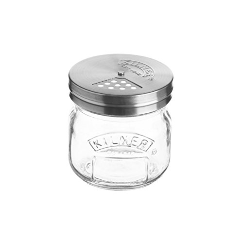 Kilner Storage Jar with Shaker Lid, Store and Serve Parmesan, Dried Herbs, and Sprinkles, 8-1|2-Fluid Ounces
