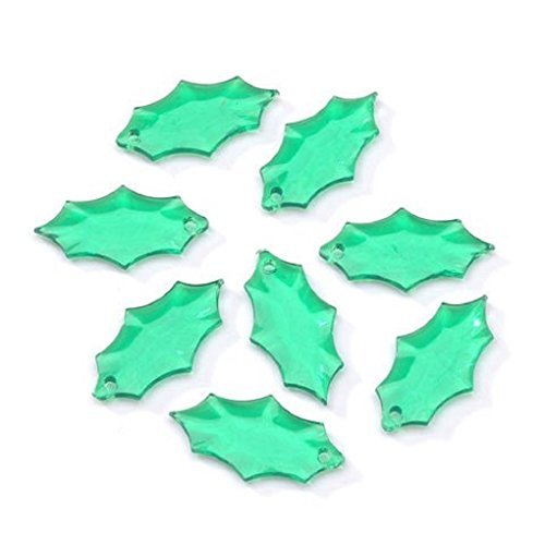 Transparent Christmas Green Acrylic Holly Leaf Beads 21 x 12mm - 144 per Pack