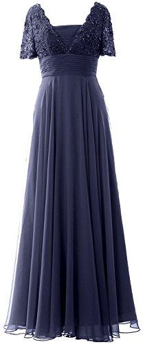 Cocktailkleid Lang Perlen Brautjungfernkleider Damen Navy mit Ballkleid Blau Beyonddress Chiffon Ärmeln Abendkleider qa7gw