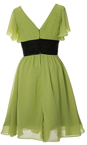 Bride Neck of Mother Formal Pistachio Cocktail V Dress MACloth Short Sleeve Gown Elegant qwAX8A