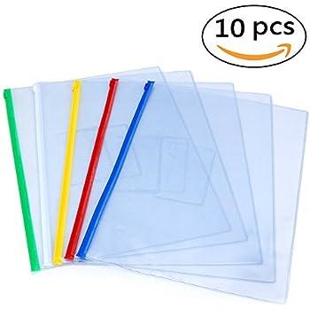 EzSos Zip Envelope, Waterproof PVC A4 File Bag, Seamless Slider Closure Pouch for Paper,Document, Bill, Pen, Memo, Notes, Transparent Assorted Color, 10 Pcs/Pack