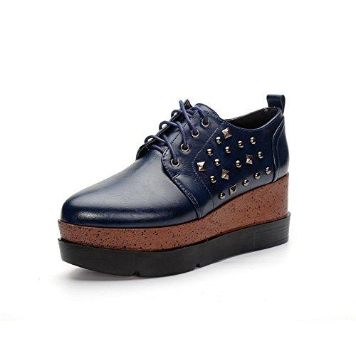 BalaMasa Ladies Studded Rivet Platform American Muffin Buttom Imitated Leather Pumps-Shoes Darkblue RHWjJddL6y