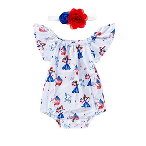 (LiLiMeng 2019 New Toddler Baby Girls 4th of July Letter Flag Princess Print Fly Sleeve Romper+Headbands Set Outfit White)