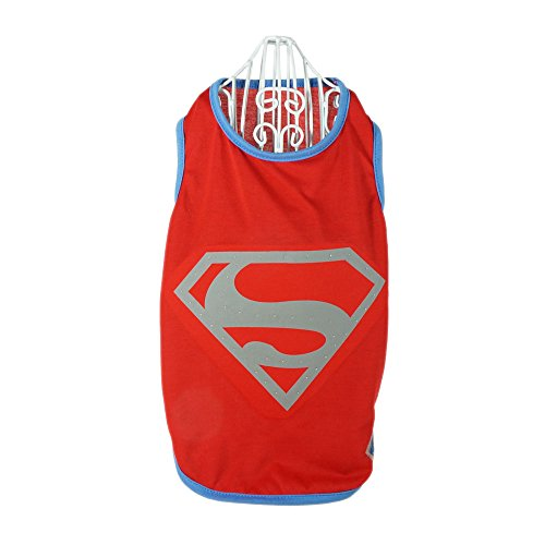 Superman Lives Costume (Dog Shirt Pet Cloth Costume - for Middle Shaped Dogs Welsh Corgi Pembroke Doge Bulldog Shelti Papillon Schnazuer Beagle Collie Bull Terrier for Hollowing New Year Christmas by Pawow)