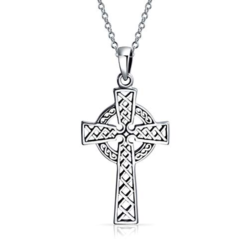 Irish Viking Love Knot Celtic Trinity Cross Pendant Necklace For Women 925 Sterling Silver 18 Inch