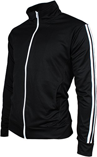Firebird Track Top - Angel Cola Men's Retro Stripes Full Zip-up Track Top Jacket Black S