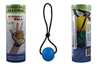 StringyBall Stress Ball on a String - For Stress Relief, Hand Exercise, Strengthening, Rehabilitation - Soft, Medium and Firm Balls - No Falling or Rolling Away