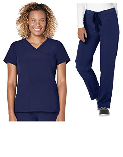 - Adar Addition Scrub Set for Women - Mock Wrap Scrub Top & Drawstring Scrub Pants - A9100 - Rich Navy - M