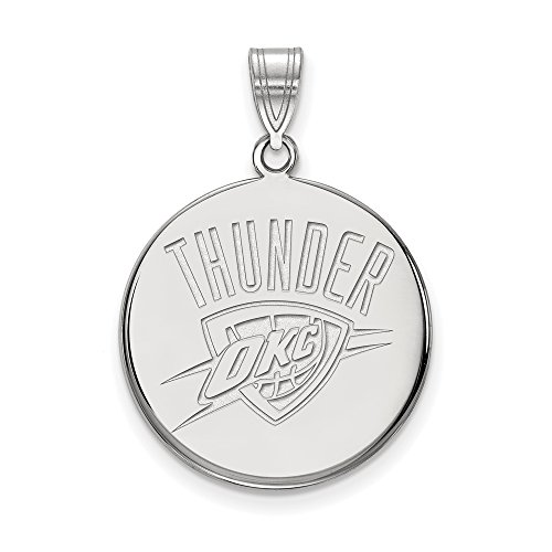 LogoArt NBA Oklahoma City Thunder Large Disc Pendant in Rhodium Plated Sterling Silver by LogoArt