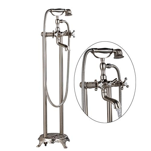 Senlesen Brushed Nickel Free Standing Floor Mounted Bathtub Faucet Dual Knobs Mixer Tap with Handheld Shower