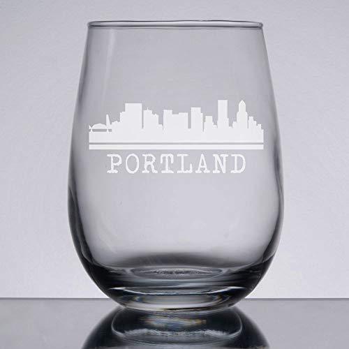 Portland Wine Glass Oregon Gift Portland Skyline Etched Stemless Wine Glass City Skyline Housewarming Christmas Portland Wedding
