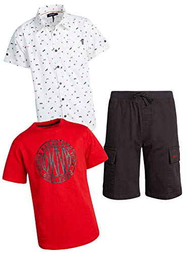 DKNY Boys' 3-Piece T-Shirt, Woven Button Down, and Shorts Set, Phantom, Size ()