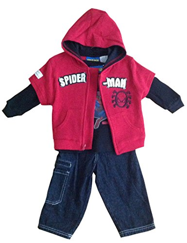 Marvel Spiderman Infant Boy Hoodie Jacket, Long Sleeves and Jean Layette Set