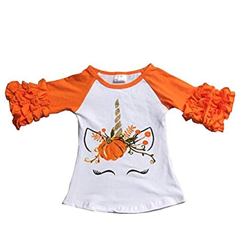 Baby Girls Halloween Long Sleeve Pumpkin Printed Ruffles T-Shirt Tops Clothes Outfits (6-12 M, Orange) ()
