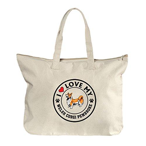 I Love My Welsh Corgi Pembroke Dog #1 Canvas Beach Zipper Tote Bag - Pembroke Center Shopping