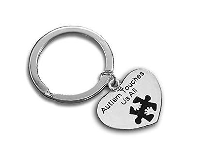 Amazon com: 12 Autism Touches Us All Round Key Chains