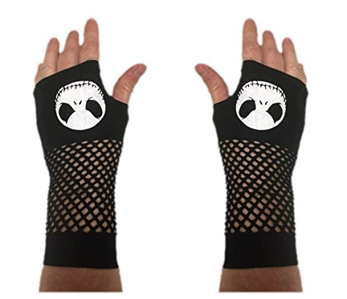 Nightmare Before Christmas Jack Skellington Fingerless Gloves Women's (Nightmare Before Christmas Gloves)
