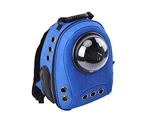 bluee JYTNB Astronaut Dog Cat Backpack Carrier, Transparent Breathable Small Pet Hand Shoulders Bag for Travel Hiking Camping,bluee