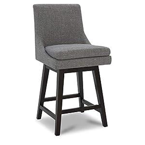 "CHITA Counter Height Swivel Barstool, Upholstered Fabric Bar Stool, 26"" H Seat Height, Fog Gray"