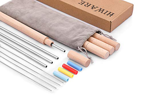Hiware Reusable Stainless Steel Metal Travel Straws with Case - Include Eco-Friendly Metal Drinking Straws with Silicone Straw Tips + Handcrafted Wooden Travel Cases + Cleaning Brushes + Storage -