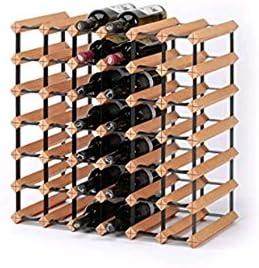 Z&HAO Gabinete De Madera del Vino del Almacenamiento del Hierro De La Madera Sólida Gabinete Clásico De Madera para Las Botellas - Tienda/Estante De La Vinoteca,42Bottle[Clase de eficiencia energética A]