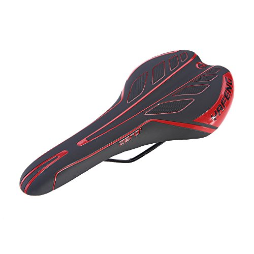 Unistrengh Bike Saddle Durable Thick Comfortable Gel Bicycle Cycling Universal Seat for MTB Folding Road Pad Cushion Seat (Red/Black)