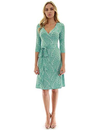 PattyBoutik Women Faux Wrap A Line Dress (Light Green and White 31 -